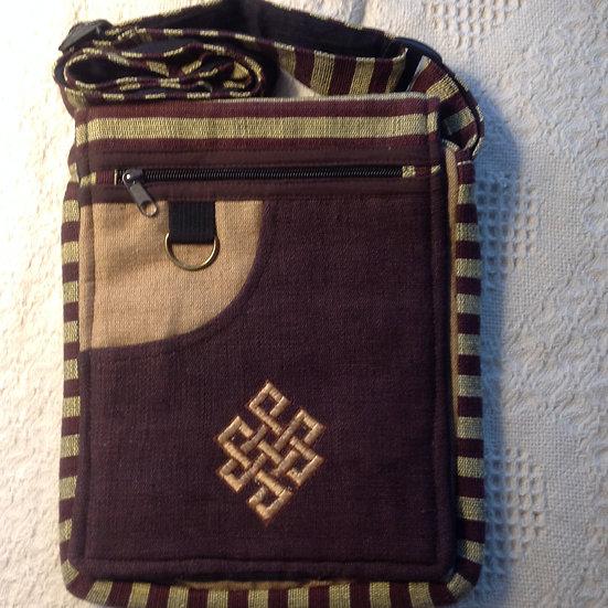 Lg. Brown Endless Knot Shoulder Bag