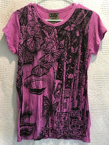 Deep Pink Butterflies with Buddha T-Shirt