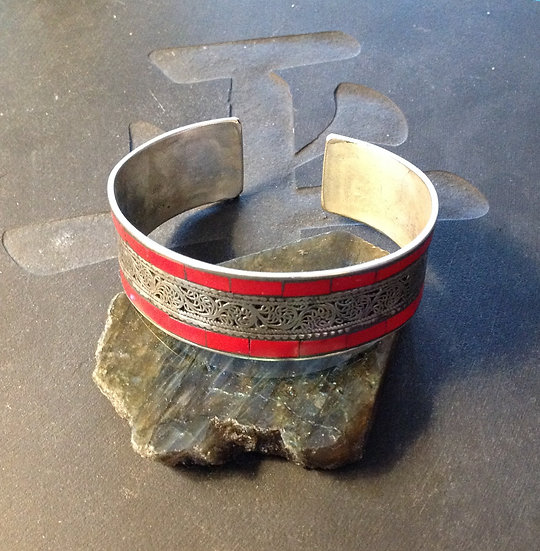 Red Coral Inlay Cuff Bracelet