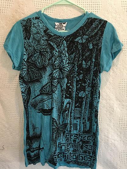 Medium Blue, Butterflys with Buddha T-Shirt