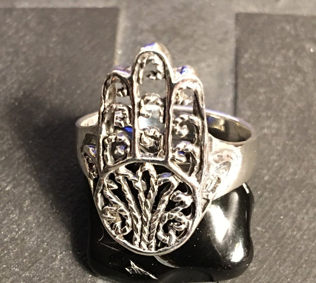 Sterling Silver (.925) Auspicious Hand (Hamsa)Ring
