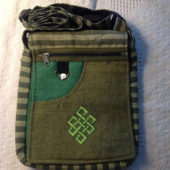 Lg. Green Endless Knot Shoulder Bag
