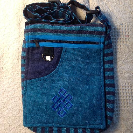Lg. Blue Endless Knot Shoulder Bag