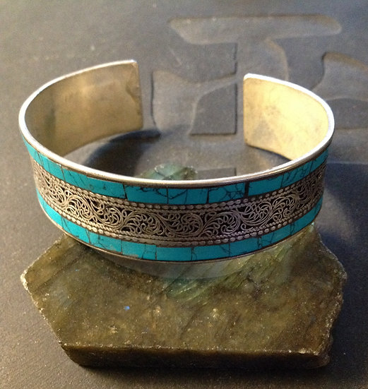 Turquoise Inlaid Tibetan Silver Cuff Bracelet