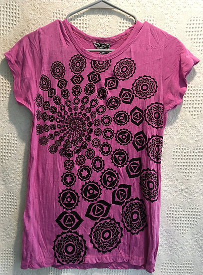 Deep Pink Fractal Design T-Shirt