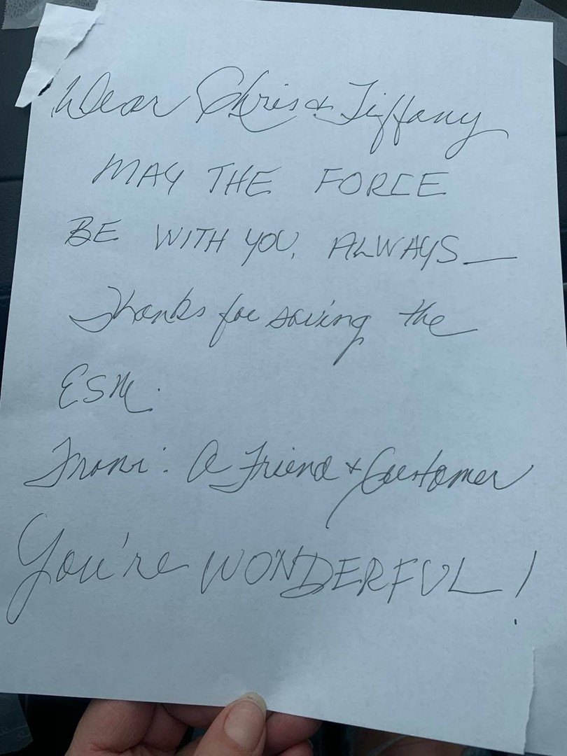 Found on our door, a note from future customers that meant more to us than we could ever say.