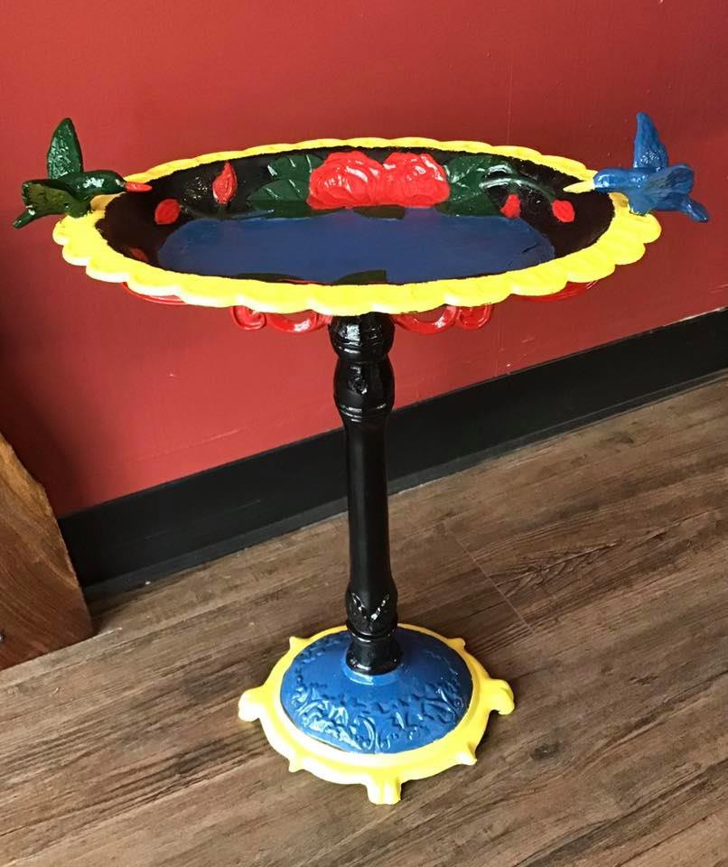 This birdbath was handpainted by Tiffany.  One of many little touches of love you will find around the store.