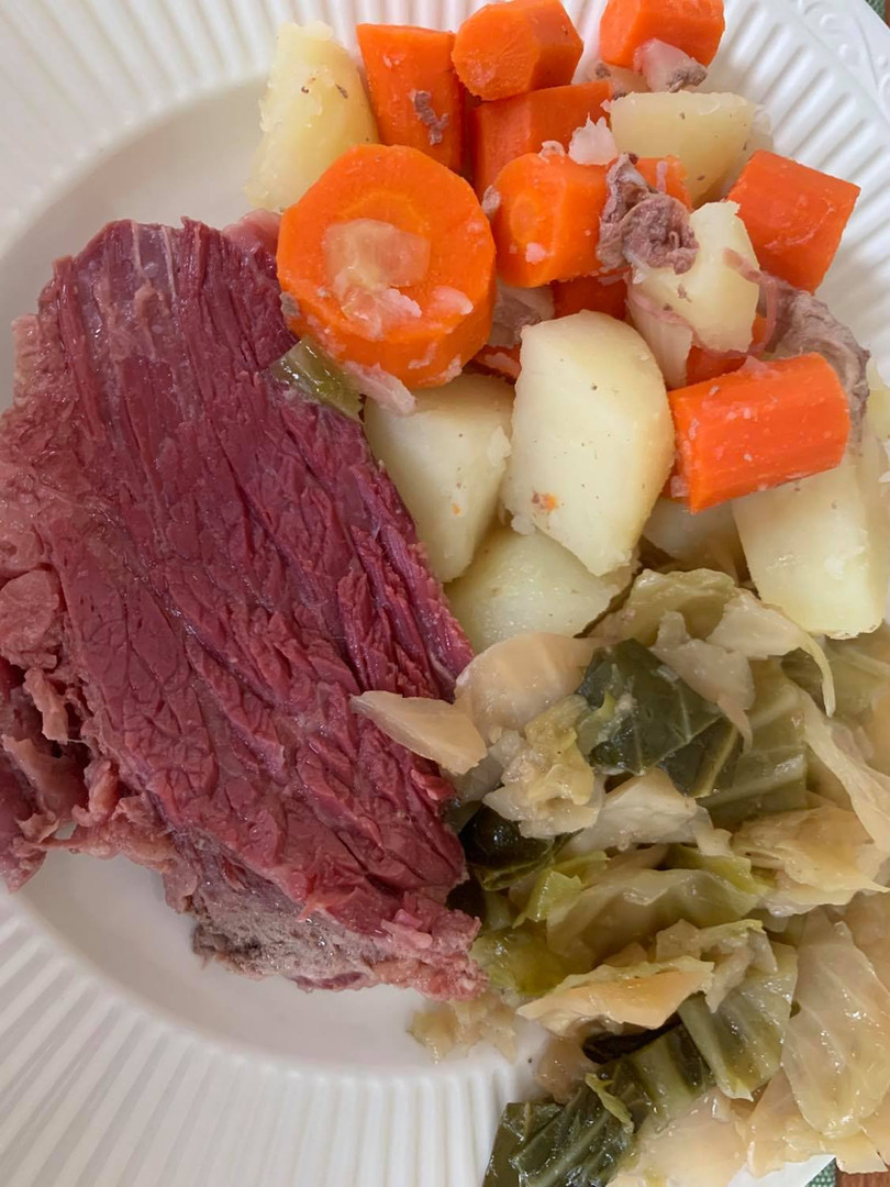 Corned beef, cabbage, potatoes and carrots by Tiffany