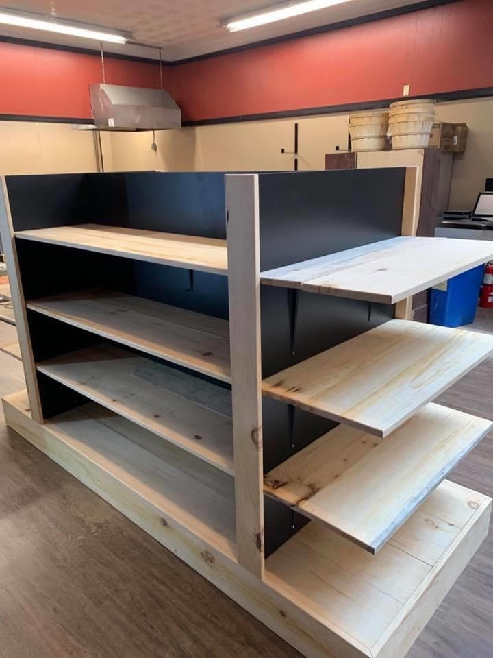 Shelving for some of our market goods.