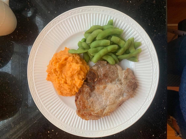 Pork Chops with edamame and whipped sweet potatoes created by Tiffany