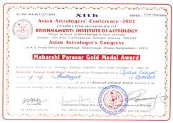 Maharshi Parasar Gold Medal Award