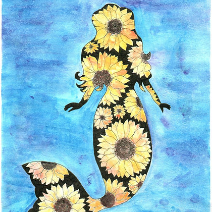 Watercolor Sunflower Mermaid Small Print with Background