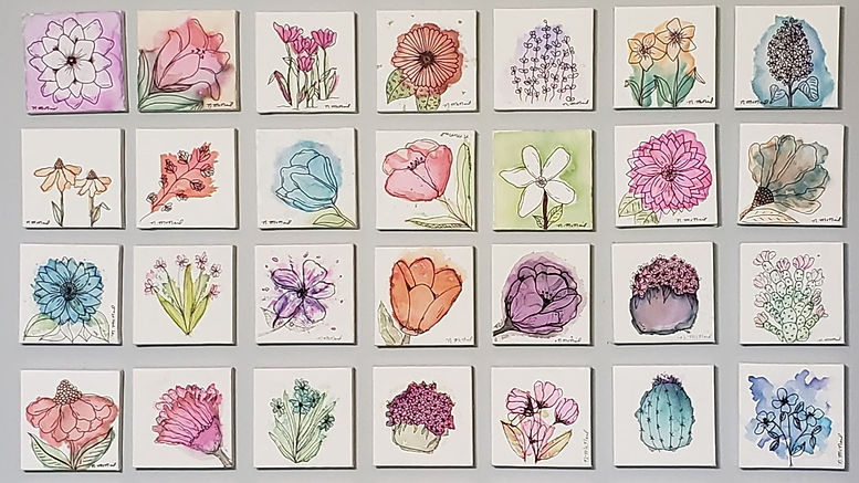 square canvas watercolor florwer paintings by Niki McNeil