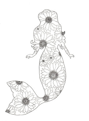 Sunflower Mermaid Adult Coloring Page