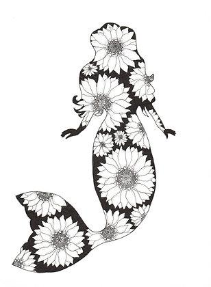 B/W Sunflower Mermaid Print