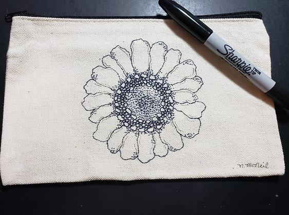 Sunflower Canvas Zippered Pouch