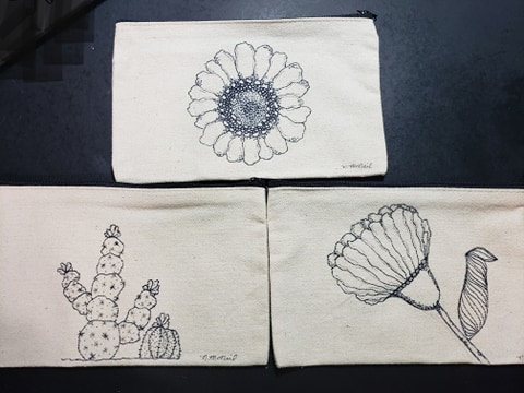 Set of 3 Canvas Zippered Pouch