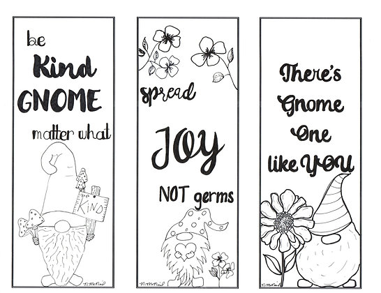 Gnome Kindness and Joy Adult Coloring Bookmarks