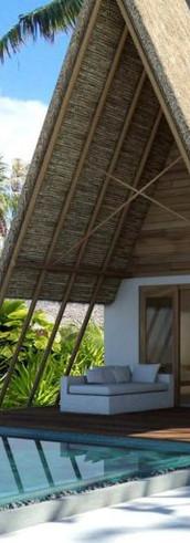 Beach villa. Arrival entrance