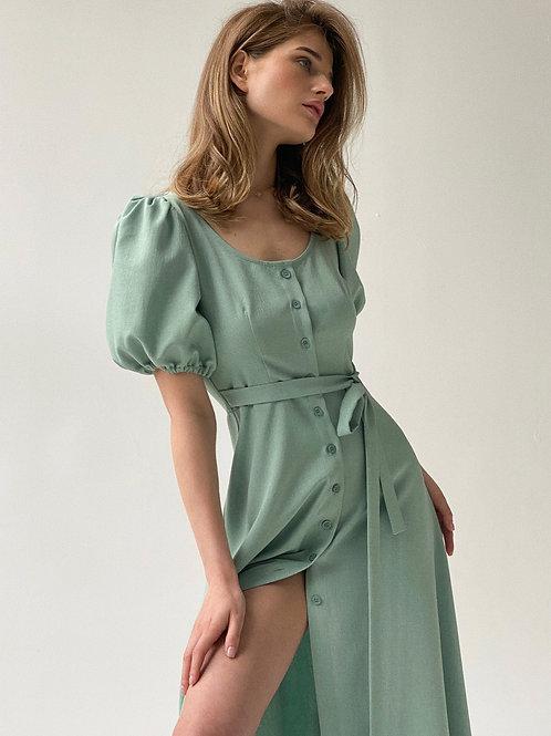 Платье миди на пуговицах в цвете нежная полынь