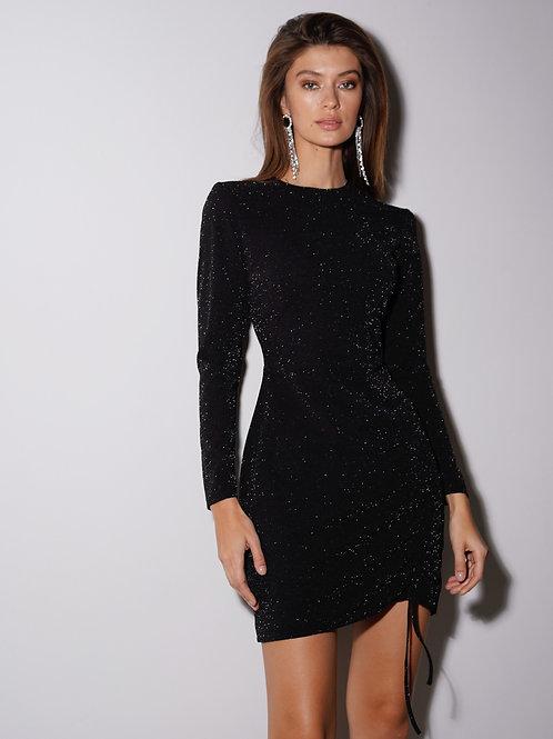 Платье из люрекса со сборкой  в черном цвете