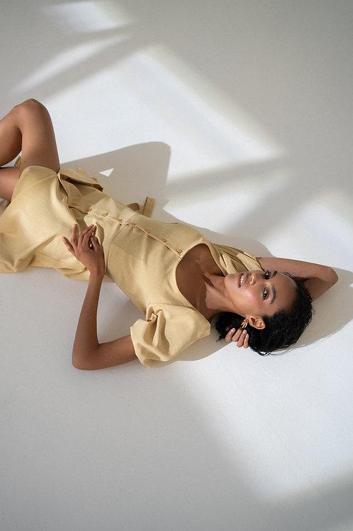 Платье миди на пуговицах в цвете лимонный щербет