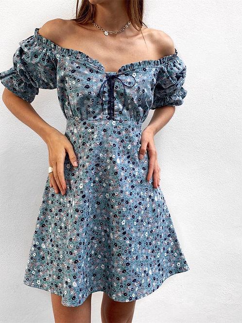 Платье со шнуровкой/цвет морской волны