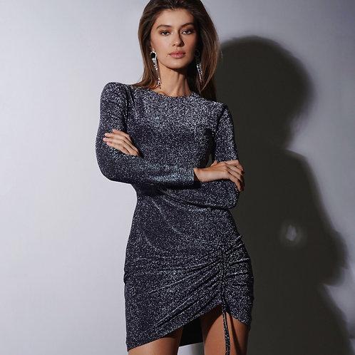 Платье из люрекса со сборкой в цвете графит