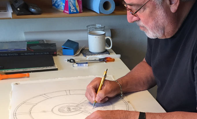 Chuck sketching the Pantocrator