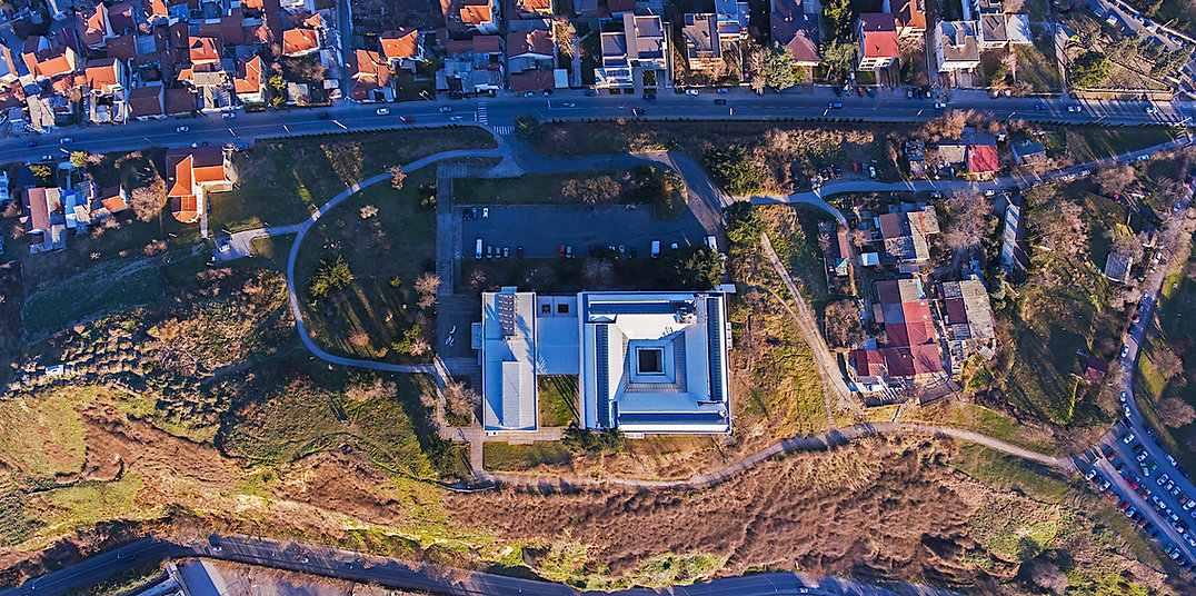MoCA, Skopje. outer city vision. Drone panorama