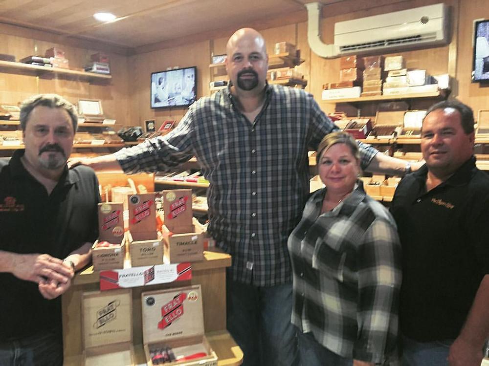 Omar de Frias with Blair and Cigar Box Tulsa owners, Robert and Tami