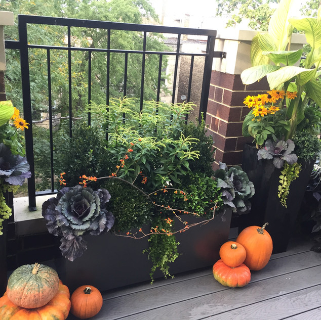 Balcony decorated for Fall