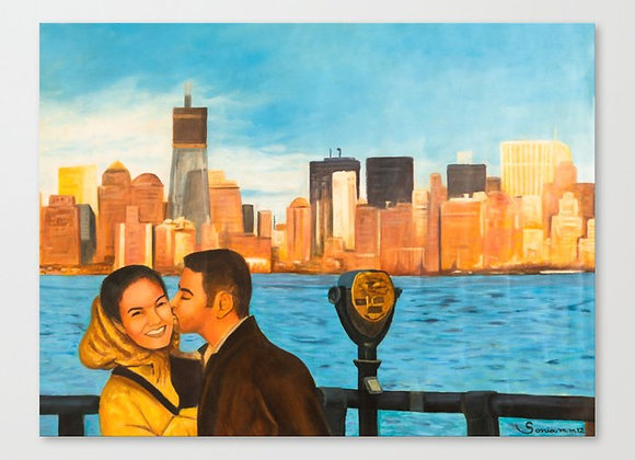 "Downtown Kiss Canvas 17""x13"""
