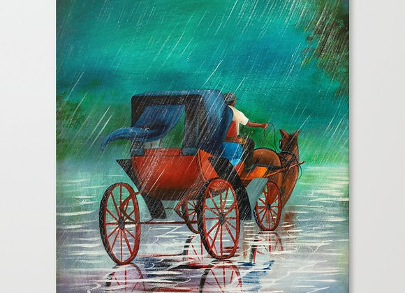 "Carriage Under Rain Canvas 13""x16"""