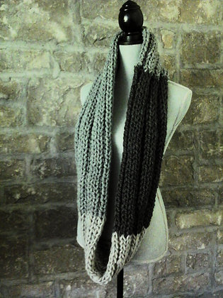 Blocked Infinity Scarf in Shades of Grey