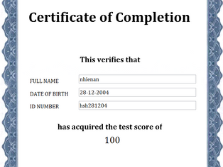 Tạo Chứng chỉ (Certificate) với họ tên, ID number, kết quả bài thi... trong Lectora
