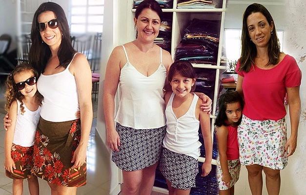 mães e filhas  vestindo Alícia -  Moda Mãe e filha