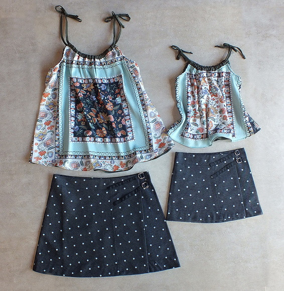 look  Mãe e Filha - Moda mãe  e filha - saia  e blusa