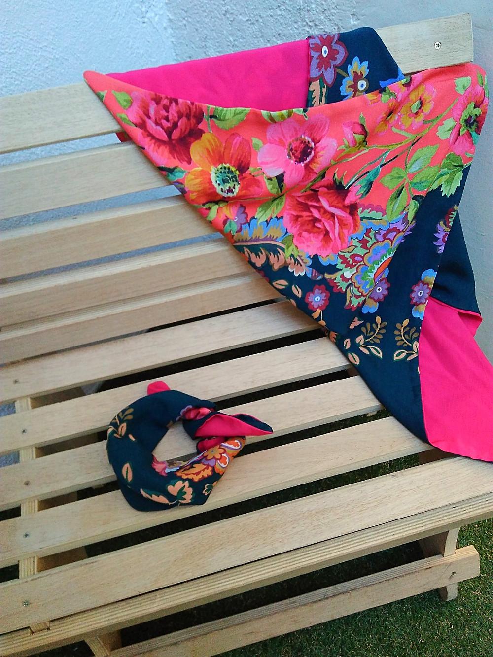 lenço dupla face floral+pink