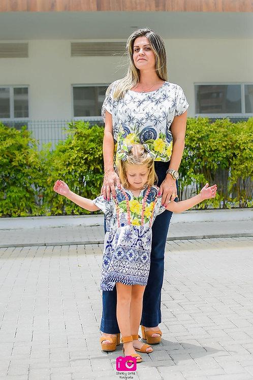 Blusa Maíra  (mãe) e Vestido Sara (filha)