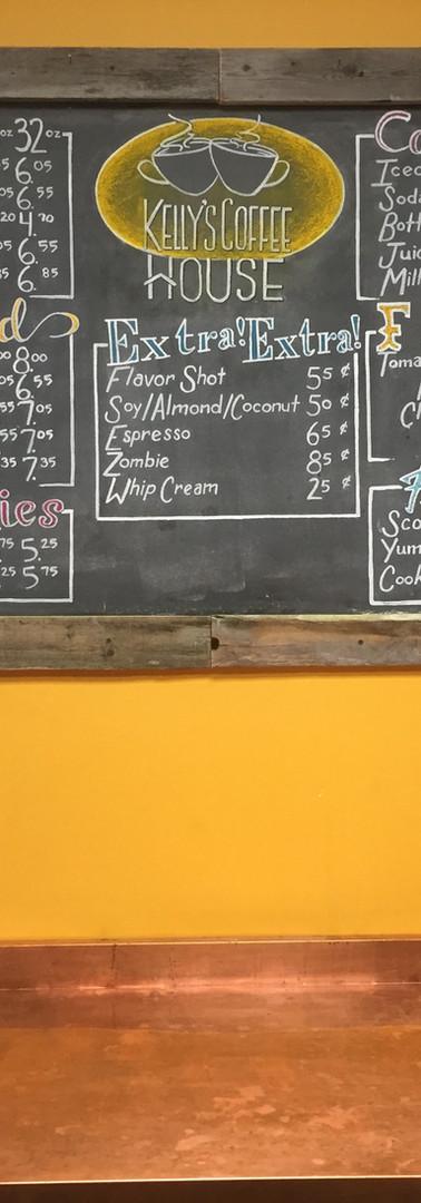 Kelly's Coffee House Menu Board