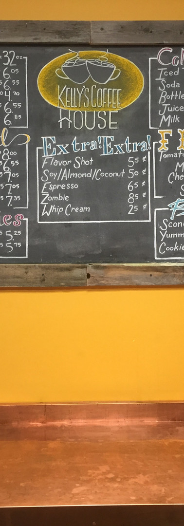 Kelly's Coffee House Menu Board