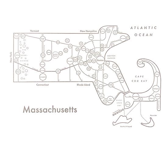 Massachusetts Map Print