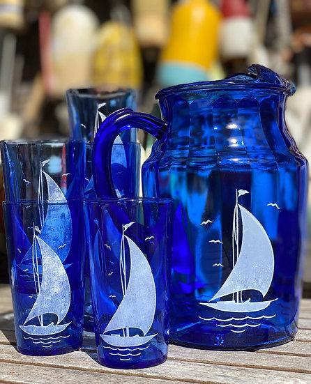 Sailboat Pitcher & Glasses Set