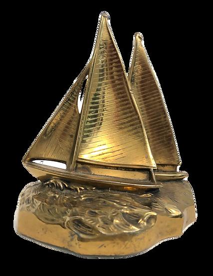 Vintage Brass Sailboat Bookends