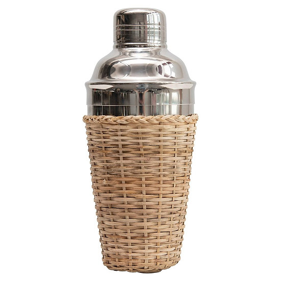 Stainless Steel & Rattan Cocktail Shaker