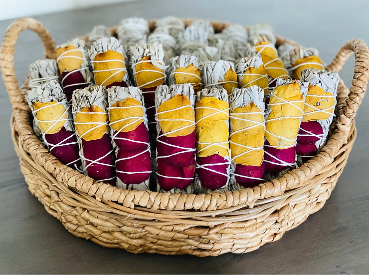 White Sage Smudge Stick with Rose Petals