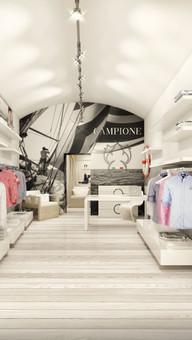 Projekt wnętrz butiku marki Campione