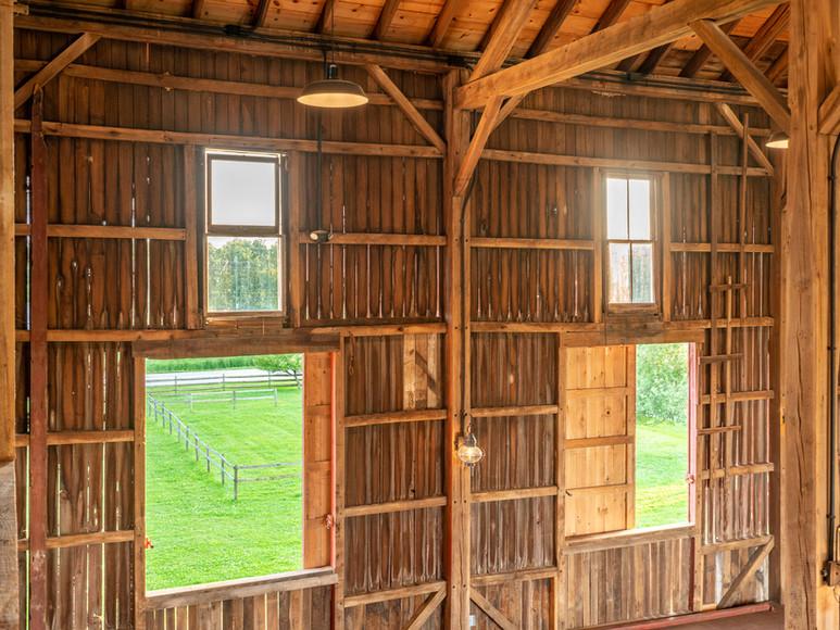 Interior of Case-Barlow Farm's Historic 1890's Barn