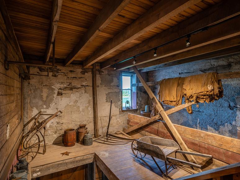 Historic farm tools on display at Case-Barlow Farm